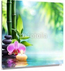 Cuadro Bambu, piedras, orquidea y vela sobre agua