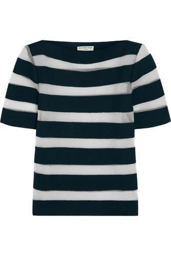 Mesh-striped linen-blend top #meshtop #women #covetme #balenciaga