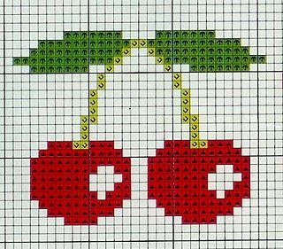 cross stitch cherries