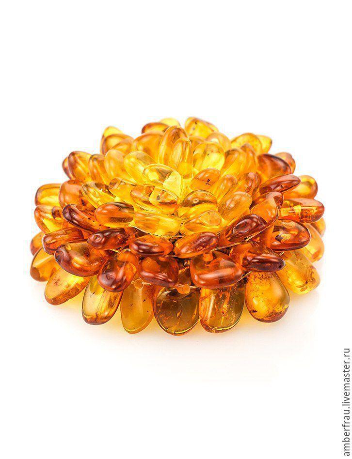 Купить Янтарная брошь хризантема (арт. 101,102,104) - брошь, брошь цветок