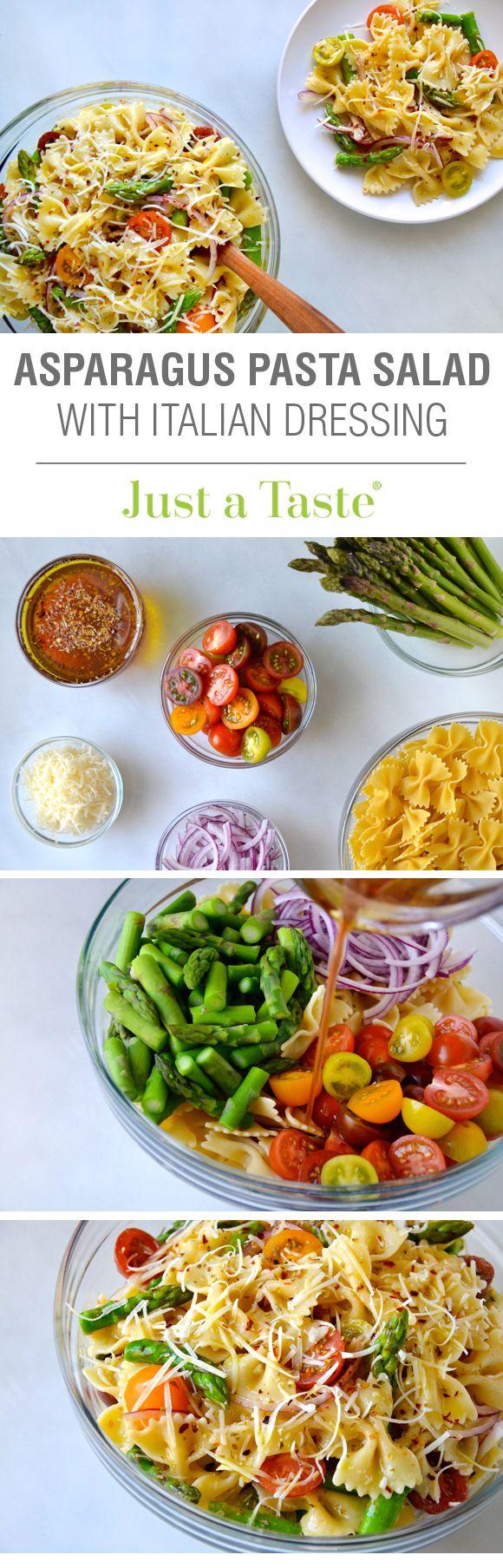 Asparagus Pasta Salad with Italian Dressing #recipe from justataste.com
