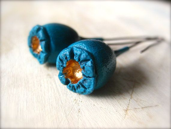 Turquoise/Copper poppy pod earrings with copper by OpiumStudios, $12.00