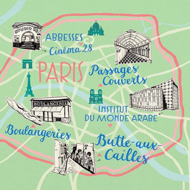 Map of Paris by Theresa Grieben. Here is another map I've recently done for Babbel online magazine! This time the article is about discovering secret places in Paris, like the murals at Butte-aux-Cailles or the roof top terrace at the Institut du Monde Arabe.