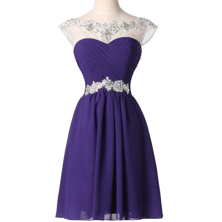 Purple vestidos fiesta gracia Karin azul violeta de encaje gasa Vestido corto de Baile 2016 barato Rhinestone Prom Party Dress Vestido Baile(China (Mainland))