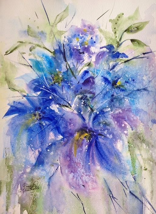Lovely blue floral loose watercolor!