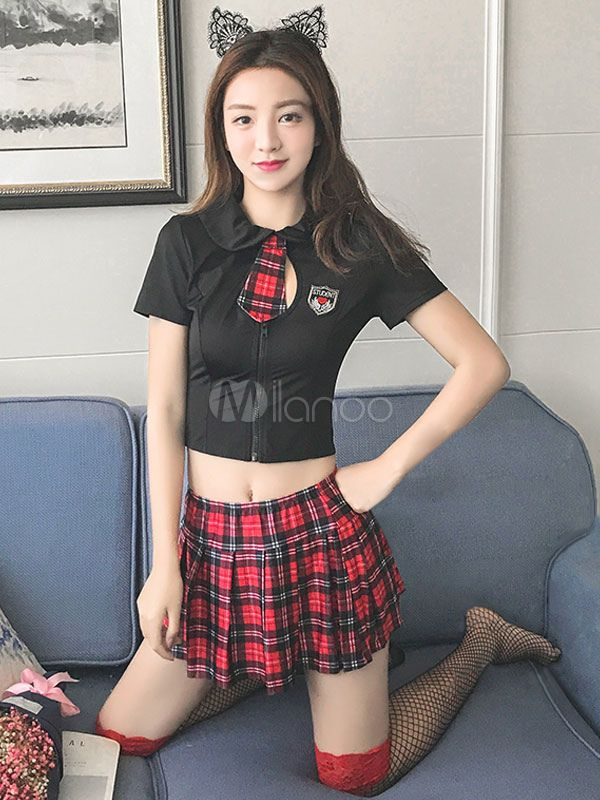 a6eaac981b169 Sexy School Girl Costume Black Plaid Mini Skirt With Top And Knee High  Socks For Women