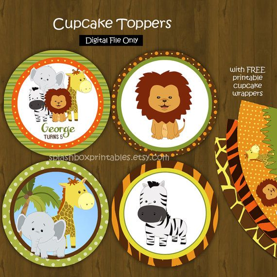 Safari Zoo Jungle Cupcake Toppers With Free Cupcake