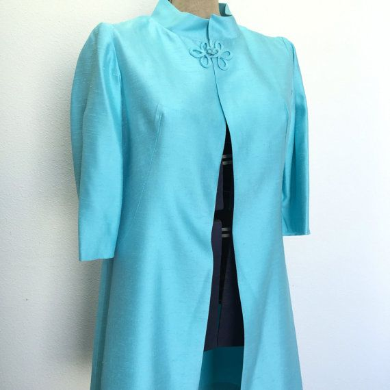 Swing Coat, Ladies Summer Jacket, Shantung Fabric, Light Blue, Teal Length, Ladies Formal Wear, Vintage Womens Clothing, Evening Wear