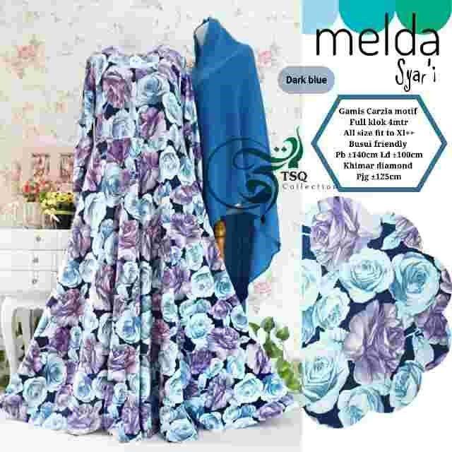 Baju Gamis Motif Bunga Melda Syar'i Online - https://www.bajugamisku.com/baju-gamis-motif-bunga-melda-syari