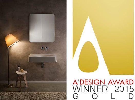 """Scarabeo vince con FUJI il premio """"Premio ORO 2014 - A Design Award"""" nella categoria sanitari. We are glad to announce that Scarabeo won the """"Premio ORO 2014 - A Design Award"""" in the sanitary sector with the FUJI washbasin."""