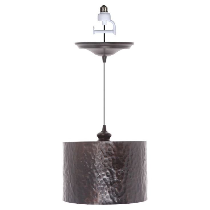 Worth Home Products Instant Screw In Pendant Light with Hammered Drum Shade - PBN-4934-0011