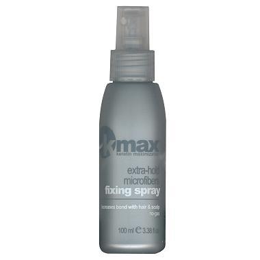 """K-Max spray fijador, es un  spray  (laca) sin gas con agradable perfume, estudiada específicamente para aumentar la fijación de las microfibras de K-Max keratin fibras capilares en el cabello y en el cuero cabelludo durante todo el día.  Basta vaporizar y dejar caer """"un velo"""" de laca desde una distancia de 20-30 centímetros y el producto, al depositarse en forma uniforme sobre la cabellera sin apelmazarla, ayuda a que las microfibras de K-Max se fijen aún más al cabello. Dejar secar al aire."""