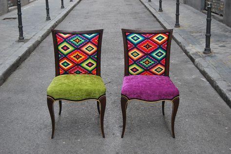 La Tapicera: Sillas tapizadas con tela de motivos mejicanos