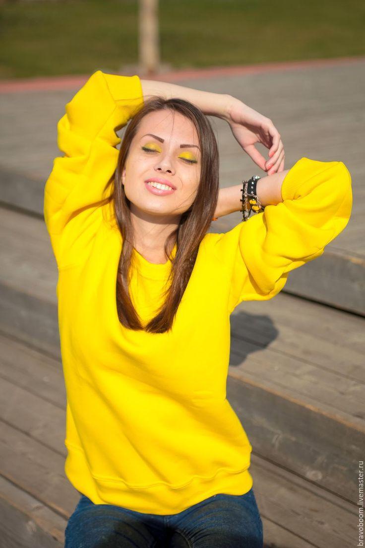 Купить Ярко-желтый свитшот (тослтовка, кофта) - продажа свитшотов, изготовление…