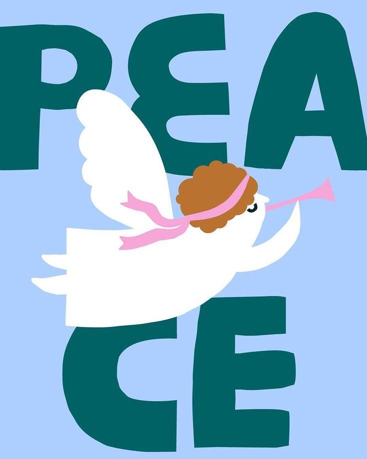 #internationaldayofpeace #leenakisonen #illustration #angel #peace #pastels #poster