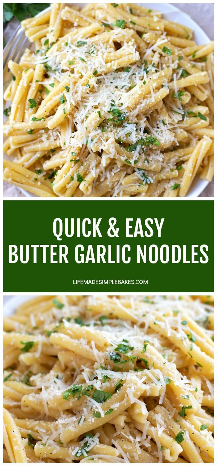 Quick Easy Garlic Butter Noodles Life Made Simple In 2020 Pasta Dishes Garlic Noodles Recipe Buttered Noodles Recipe