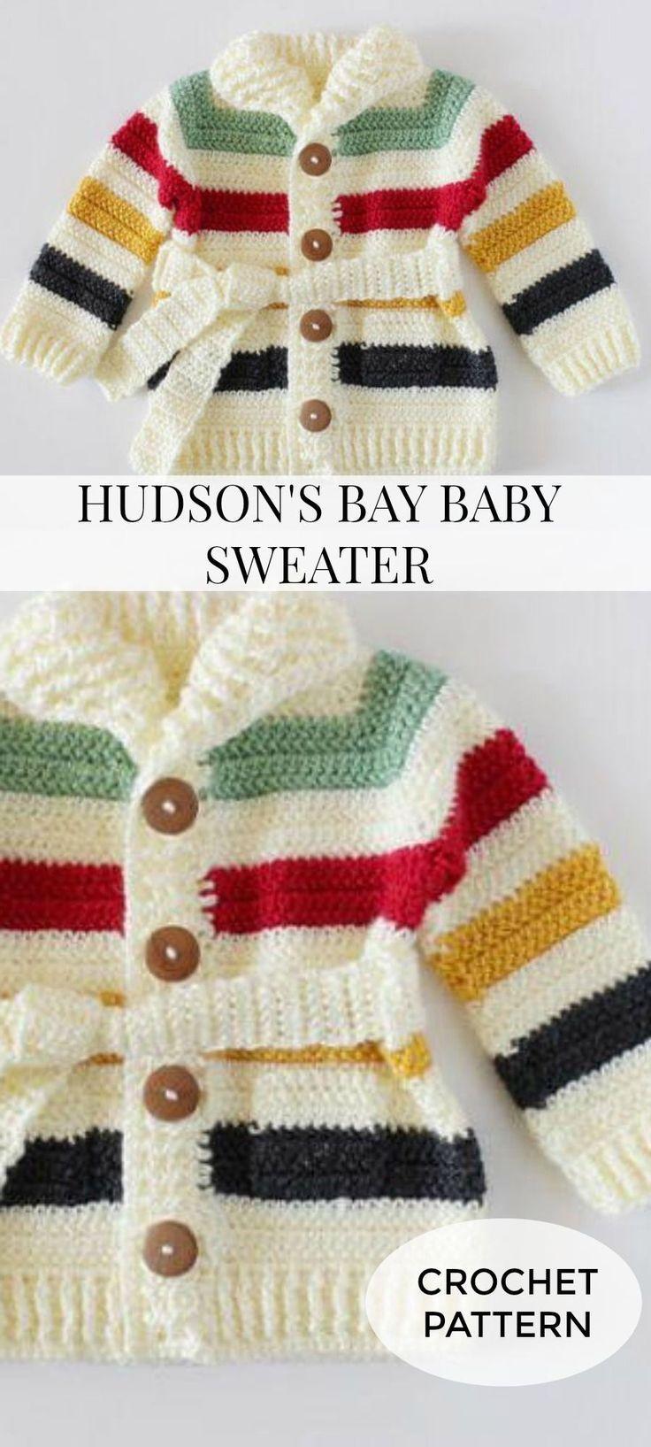 94238fef8b2c Crochet Hudson s Bay Baby Sweater Classic
