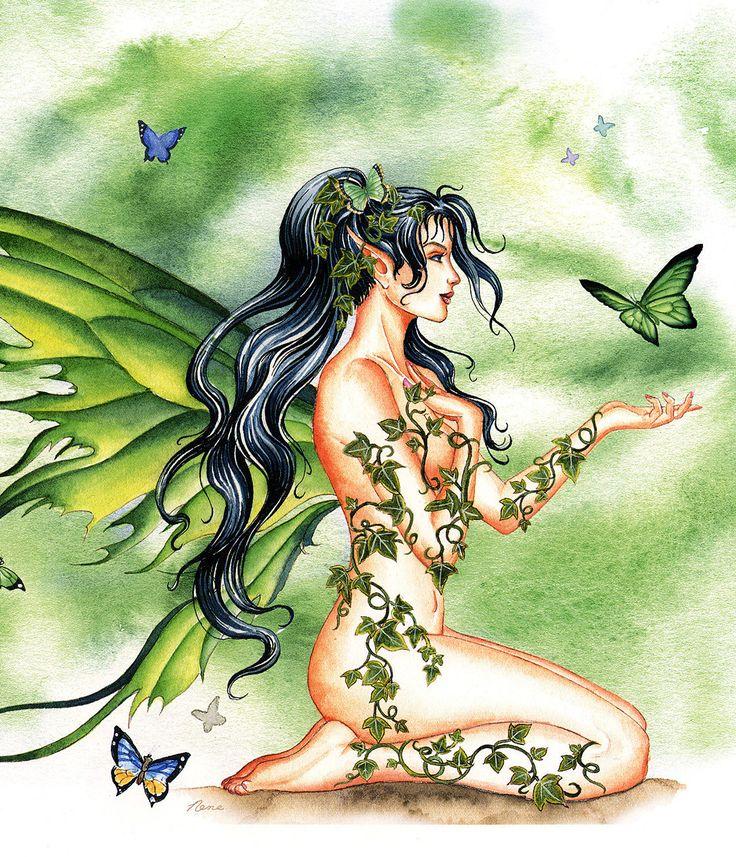 Nene Thomas Ceramic Tile Art -- Ivy Vines Fairy -- Retired