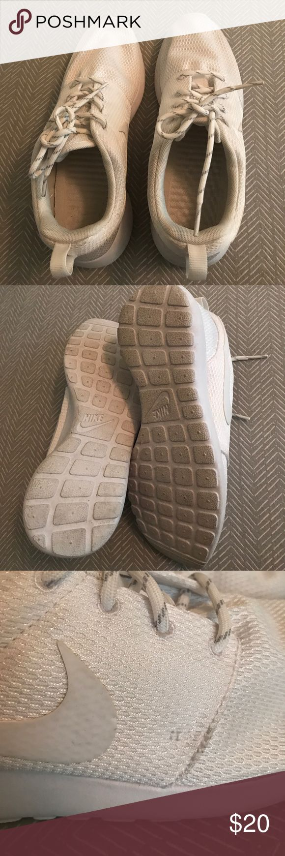 Nike all white Roshe run Used twice but in excellent condition. Clean inside and out except for veterans minor dirt ( see pics) from use. Does not affect use. Smoke and pet free home Nike Shoes Athletic Shoes