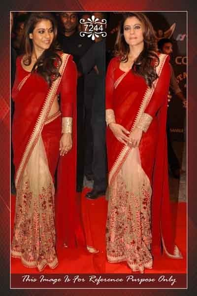 Bollywood Inspired Kajol Red Cream Designer Saree Buy Apparel