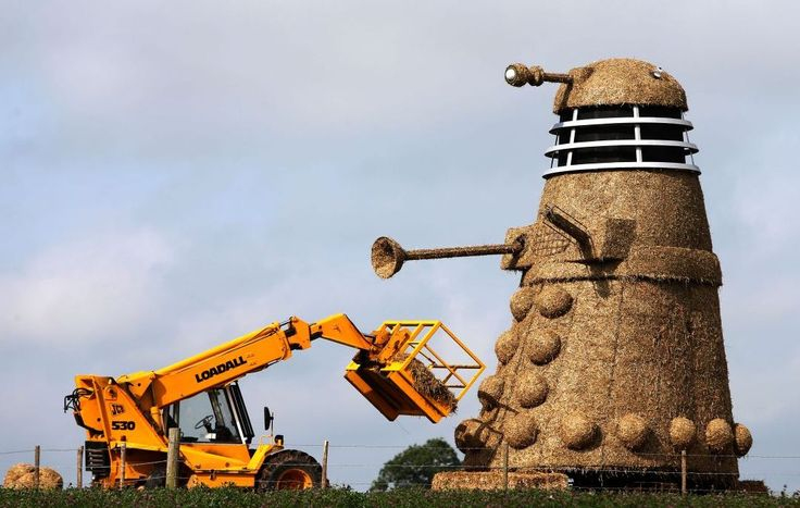 Dalek straw sculpture commemorating 50 years of Dr Who.
