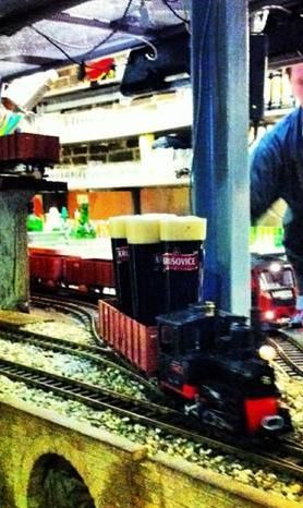 Beer delivered by tiny train at Vytopna in Prague. Novelty factor!