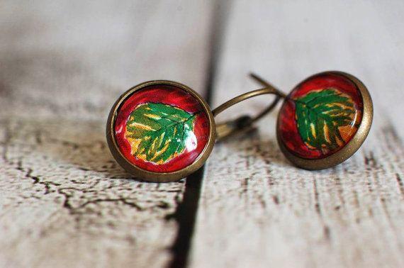 Art Dangle Earrings  Leaf Earrings  Art Jewelry Modern Earrings  Art Earrings Green Leaf Design  handmade by Evartstudio