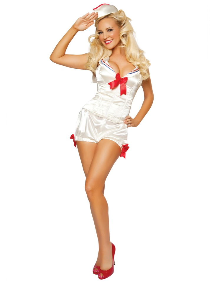 Salute your sassy Girl Next Door side dressed to honor our servicemen and women in our stylish new For The Troops Pin Up Sailor Costume. This classy costume set features a sleeveless corset style romper with contrasting trimmed sailor collar, plunging neckline with satin ribbon bow tie bust, fully boned corset style bodice and bloomer style shorts with elasticized cuffs and satin ribbon bow accents. Matching satin sailor cap with contrast piping is also included. $99.95