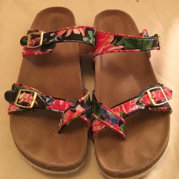 Floral Mossimo berkinstock inspired sandals Worn several times. Very comfy. Mossimo Supply Co Shoes Sandals