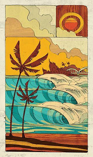 Reef Hawaiian Pro artwork by Erik Abel   Club Of The Waves