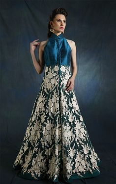 Green and white resham Cape with Skirt from Wed In Vogue