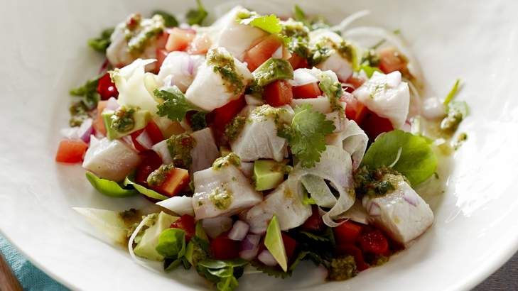 Pete Evans' ceviche salad. Super-fresh fish is the hero of a simple ceviche, which is best accompanied by a zingy jalapeno and tomatillo salsa.