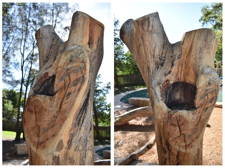 Gorgeous natural timber hidey hole at Asquith Park nature play area! #natureplay #logs #australiantimber