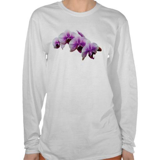 Magenta White Orchids Ladies Tee Shirt