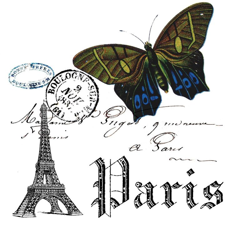 Paris and Butterfly Collage Free Printable