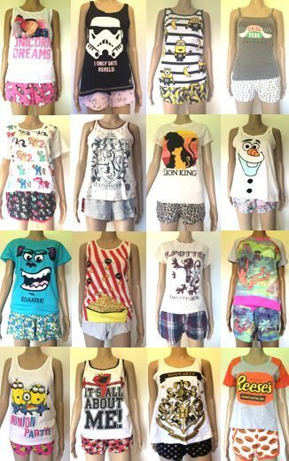 Fun Novelty Women's Pyjamas Set Shorts Vest Primark Cheap Pajamas PJS in Clothes, Shoes & Accessories, Women's Clothing, Lingerie & Nightwear | eBay