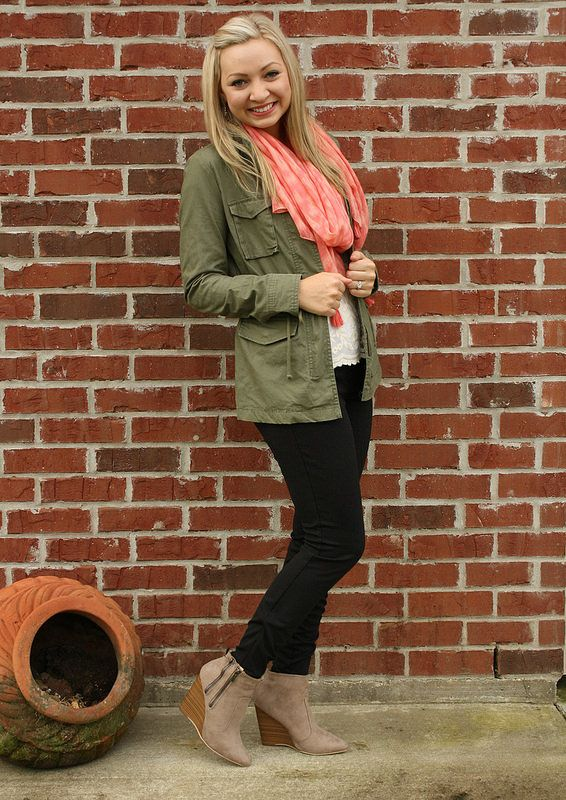 Goodwillista | utility jacket + lace blouse + coral scarf