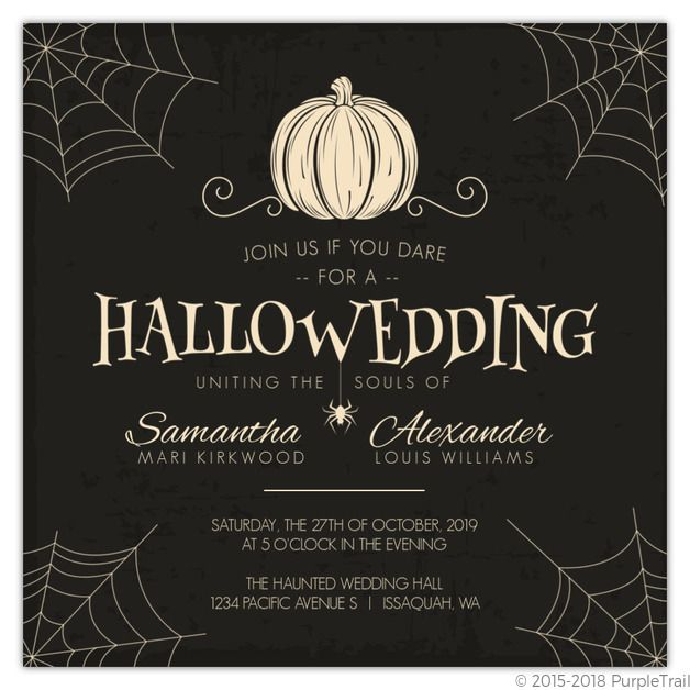 Creepy Pumpkin Halloween Wedding Invitation in 2019