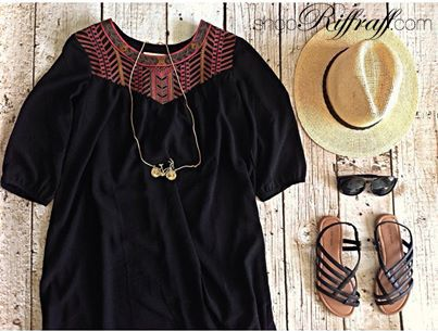 Casual Summer day outfit from ShopRiffraff.com! Embroidered sun dress, straw hat, sunnies, and sandals!