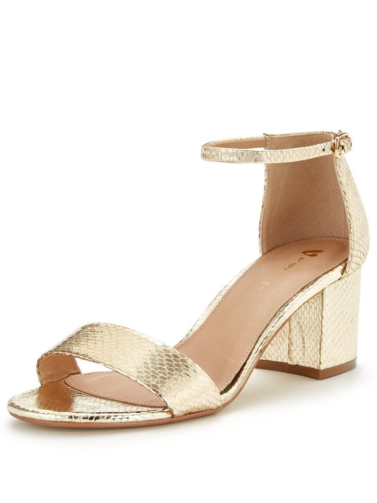 V by Very Houghton Low Block Heel Strap Sandal | very.co.uk