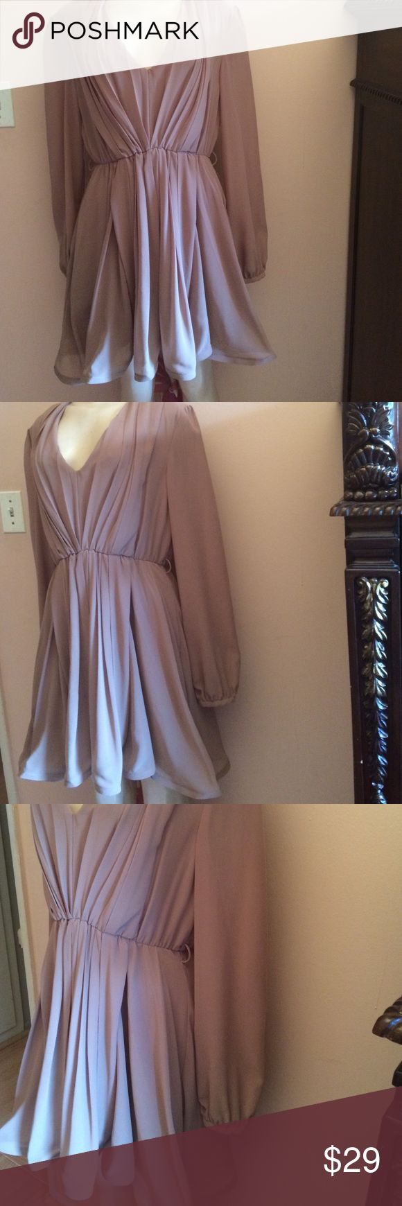 Mocha color pretty dress This is a flirty dress that will catch attention. Very delicate and flowy. Shoes are listed separately and they're a great match with this dress. Belt is missing. Dresses Mini
