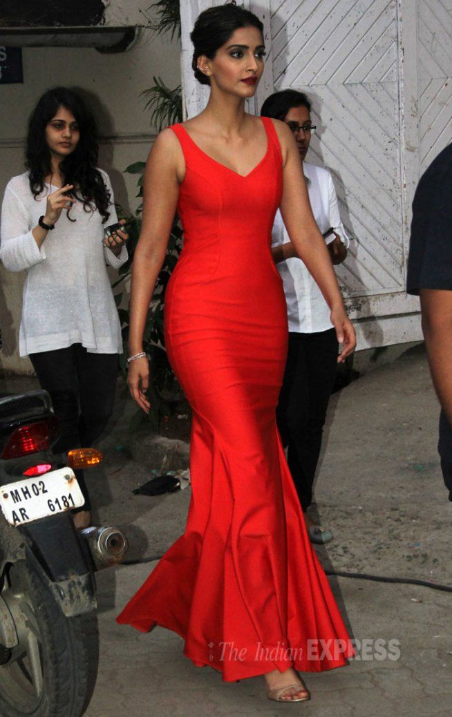Sonam Kapoor in red Satin gown at Mehboob Studio. #Bollywood #Fashion #Style #Beauty