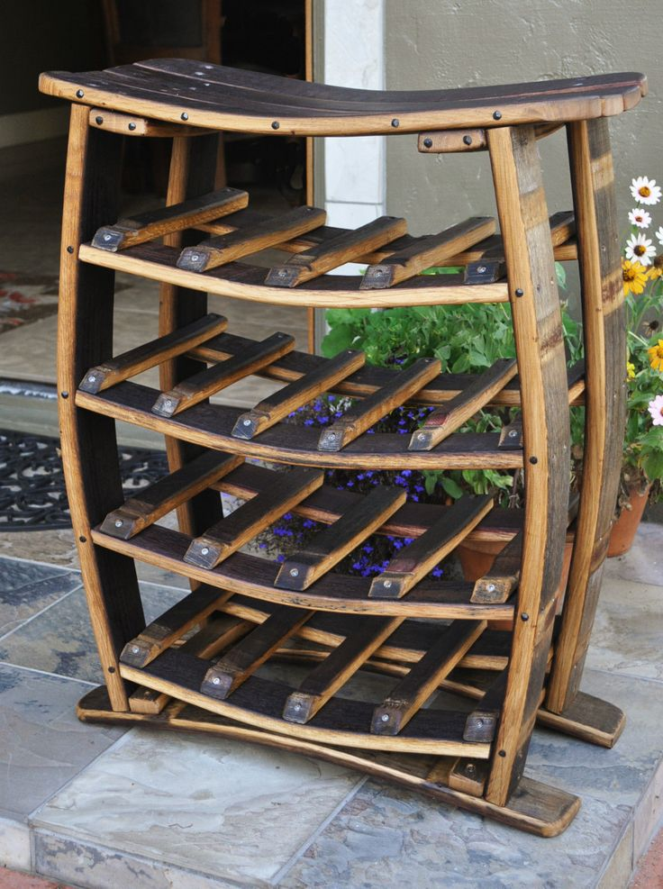 Wine Barrel Stave 17 Bottles Wine Rack Handcrafted | eBay