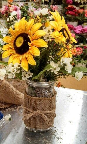Kayla@Michaels lisbon ct Burlap mason jar sunflower arrangement                                                                                                                                                      More