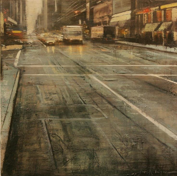 Sexta Avenida.60x60 cms.Oleo/tabla  Pedro Rodriguez Garrido