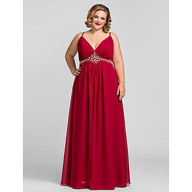 Plus Size A-line V-neck Floor-length Chiffon Evening/Prom Dress – USD $ 98.99