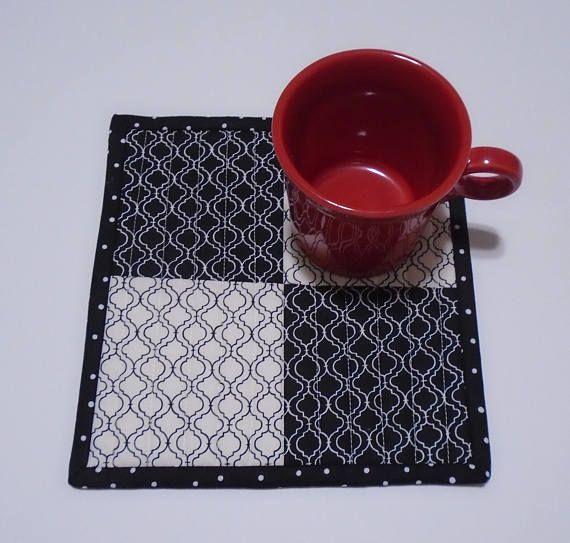Mug Rug Mug Mat Black And White Mug Rug Mini Quilt Quilted Candle Mat Quilted Coaster Modern Mug Rug Small Placemat Mini Placemat Quilted Candle Mats Modern Mugs Mug Rug
