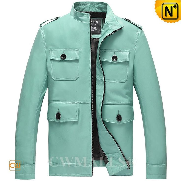 CWMALLS® Designer Leather Bomber Jacket CW807003 - Shop this designer leather bomber jacket for men, it highlights its beautiful and fresh color, multiple flap pockets design and handsome epaulets, very soft and comfy with genuine lambskin leather, each fashion man should not miss this leather bomber jacket.