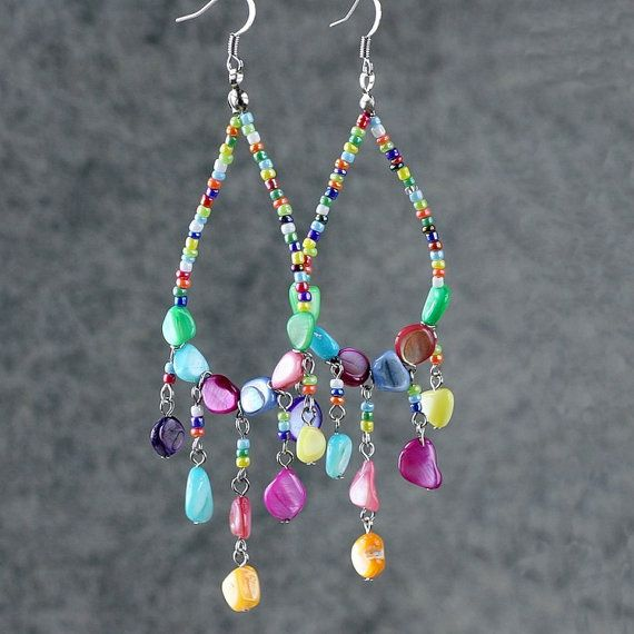 Colorful shell tear drop long big hoop earrings Bridesmaids gifts Free US Shipping handmade Anni Designs