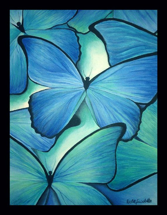 Blue Morpho Acrylic Butterfly Painting By Kfairchild2 On
